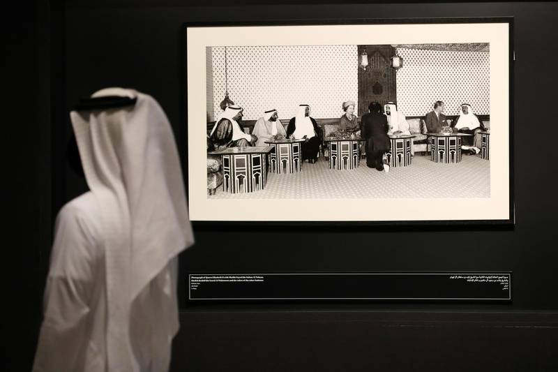 Dubai, United Arab Emirates - Reporter: Alexandra Chaves. Arts and Life. Photographs in Dialogue at the Etihad Museum documents the diplomatic relationship between the UK and the UAE, from the 1960s and 70s to the foundation of the country in 1971. Pictures of Sheikh Zayed with Queen Elizabeth II. Monday, August 24th, 2020. Dubai. Chris Whiteoak / The National