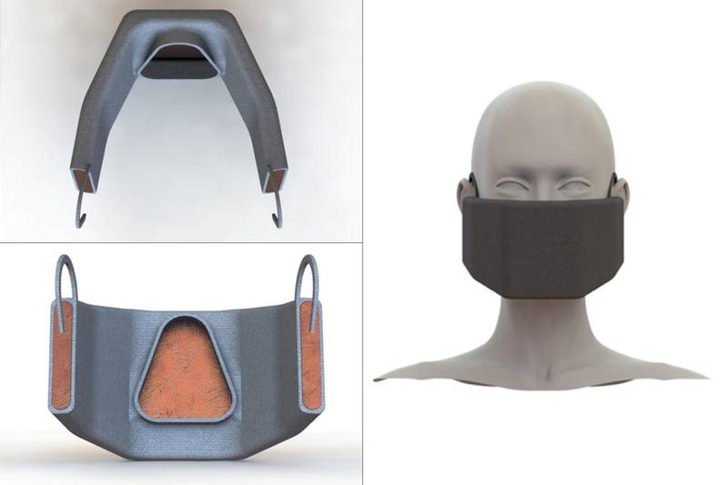 A face mask that uses heat to deactivate viruses is being designed by MIT researchers. Courtesy MIT researchers