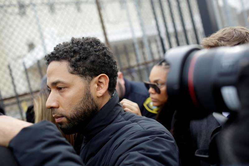 FILE PHOTO: Jussie Smollett  exits Cook County Department of Corrections after posting bail in Chicago, Illinois, U.S., February 21, 2019.  REUTERS/Joshua Lott/File Photo