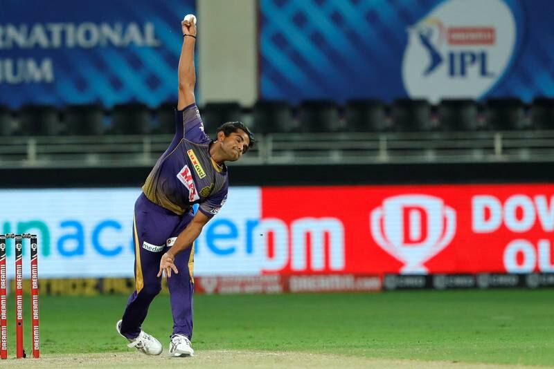 Shivam Mavi of Kolkata Knight Riders bowling during match 12 of season 13 of the Dream 11 Indian Premier League (IPL) between the Rajasthan Royals and the Kolkata Knight Riders held at the Dubai International Cricket Stadium, Dubai in the United Arab Emirates on the 30th September 2020.  Photo by: Saikat Das  / Sportzpics for BCCI