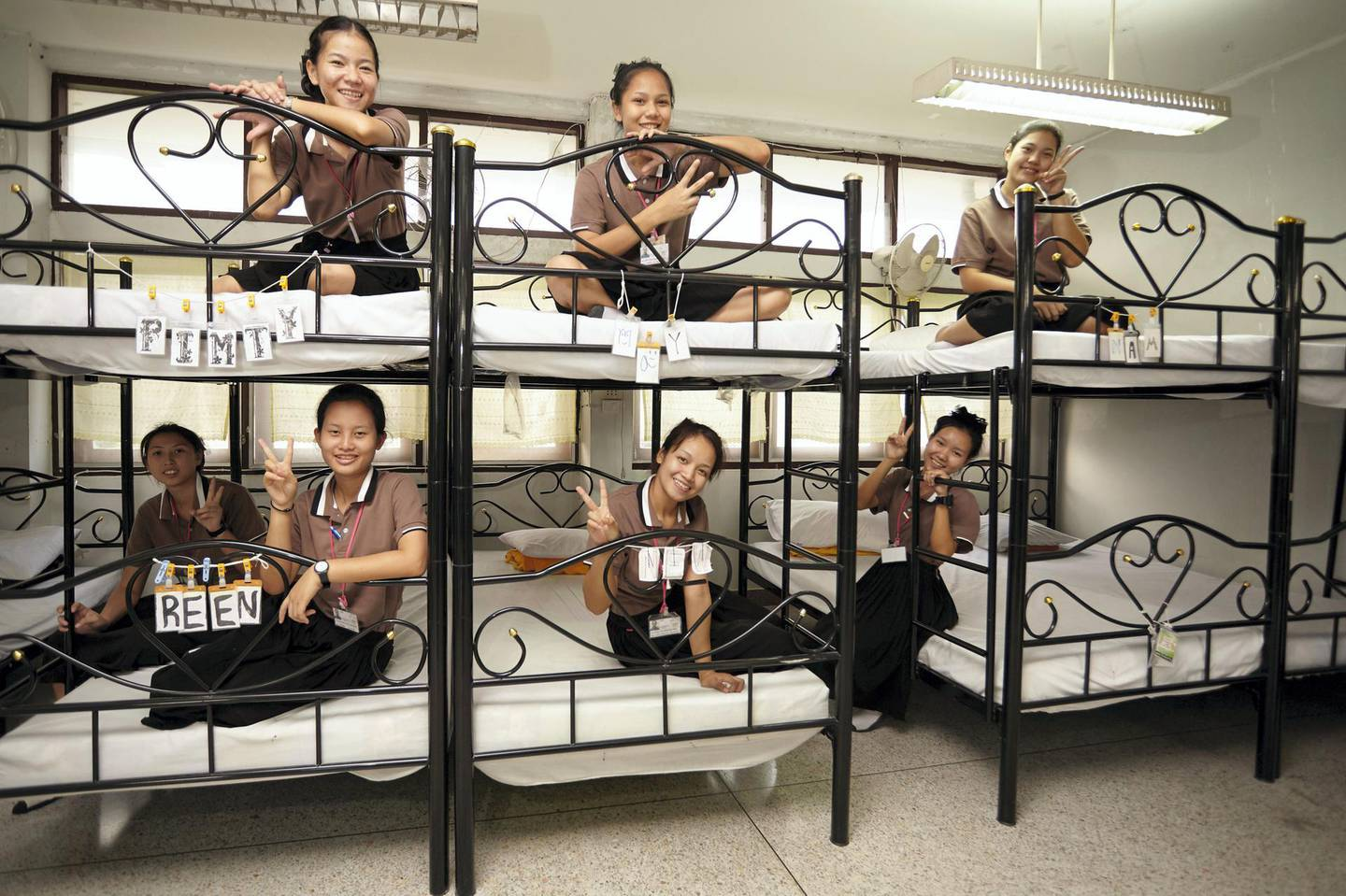 Bangkok-Thailand-CLC Student's dorm- The students at their Bunk bed, Every bed have the name which decorate by the bed's owner. Sasamon Rattanalangkarn for The National