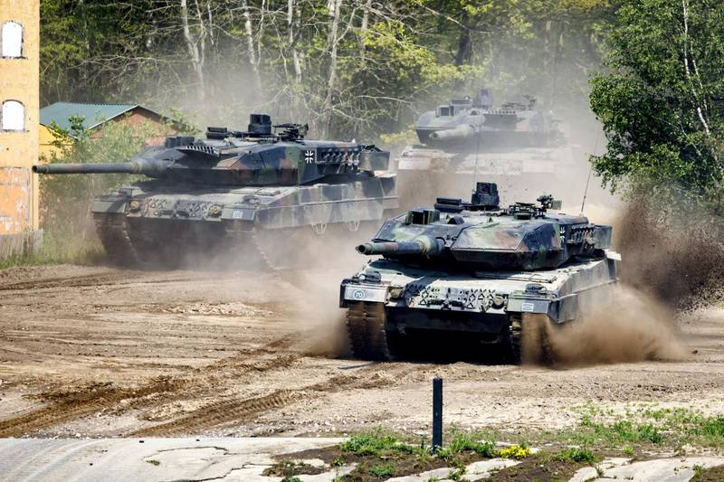 MUNSTER, GERMANY - MAY 20: A Leopard Tank of the Bundeswehr Panzerlehrbrigade 9 (9th Armoured Demonstration Brigade) during a presentation of capabilities by the unit on May 20, 2019 in Munster, Germany. The brigade is the core of the Very High Readiness Joint Task Force (VJTF), which is a NATO rapid reaction force composed of soldiers from a variety of NATO nations. The German government recently announced it will increase defense spending by EUR 5 billion, the biggest rise since the end of the Cold War. (Photo by Morris MacMatzen/Getty Images)