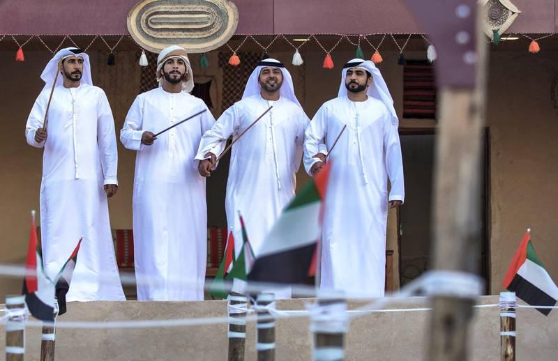 Abu Dhabi, United Arab Emirates, January 10, 2021.  Emirati Ayala dancers at the UAE pavillon, Sheikh Zayed Festival.Victor Besa/The NationalSection:  NAReporter:  Saeed Saeed
