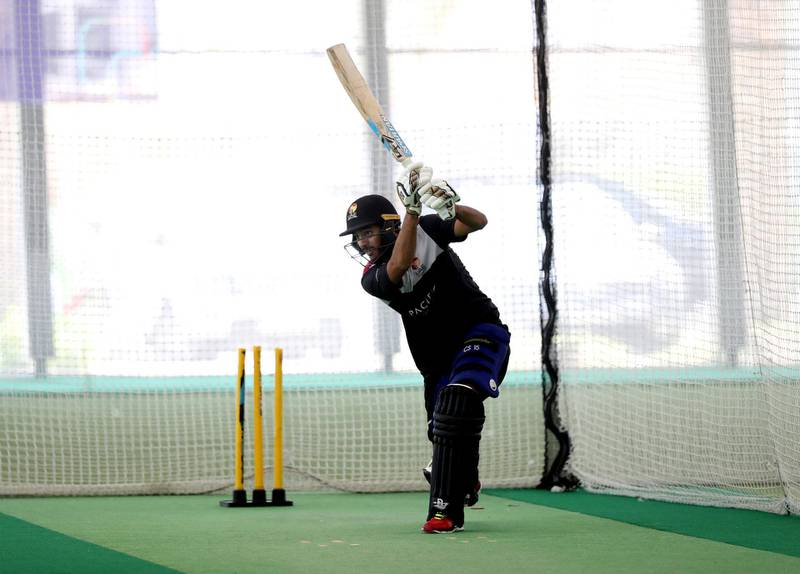 Dubai, United Arab Emirates - Reporter: Paul Radley. Sport.  Chirag Suri bats. The UAE cricket team are back at training at the ICC academy after the government have eased restrictions due to Coivd-19/Coronavirus. Sunday, June 7th, 2020. Dubai. Chris Whiteoak / The National