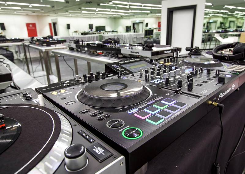 Abu Dhabi, United Arab Emirates, March 3, 2020.  Beklee Abu Dhabi, Manarat Saadiyat.  Interior and exterior images.  One of the music sound proof rooms which offer DJ / Sound Mixing classes.Victor Besa / The NationalSection:  NAReporter:  Razmig Bedirian