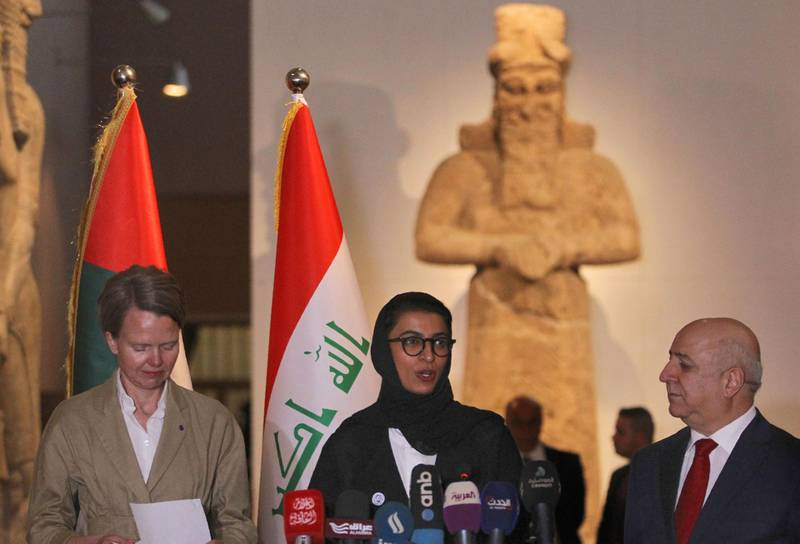 UNESCO representative in Iraq Louise Haxthausen (L), UAE Minister of Culture and Knowledge Development Noura al-Kaabi (L) and Iraqi Minister of Culture Firiyad Rawanduzi (R) give a joint press conference after the signing of an agreement on the reconstruction of Mosul's Al-Nuri mosque, on April 23, 2018 at the Iraqi National Museum in Baghdad.  The United Arab Emirates and Iraq signed an agreement to develop the rehabilitation of the Al-Nuri Mosque and its Al-Hadba minaret in the former embattled Iraqi northern city of Mosul, with financial support amounting to 50.4 million dollars. The Nuri mosque and its ancient leaning minaret, were blown up in June 217 by jihadists of the Islamic State group as Iraqi forces battled to retake the city.  / AFP PHOTO / AHMAD AL-RUBAYE