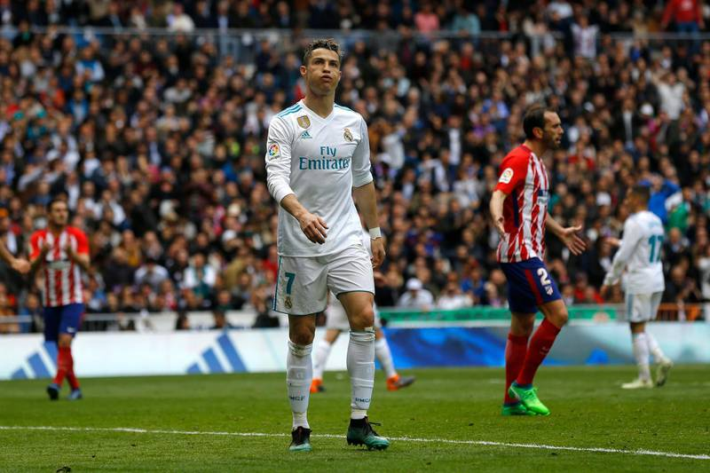 Real Madrid's Cristiano Ronaldo gestures during the Spanish La Liga soccer match between Real Madrid and Atletico Madrid at the Santiago Bernabeu stadium in Madrid, Sunday, April 8, 2018. Ronaldo scored once and the match ended in a 1-1 draw. (AP Photo/Francisco Seco)