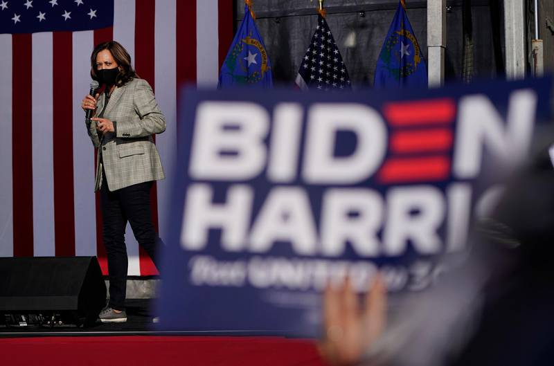 Democratic vice presidential candidate Sen. Kamala Harris, D-Calif., speaks at a drive-in campaign event Friday, Oct. 2, 2020, in Las Vegas. (AP Photo/John Locher)
