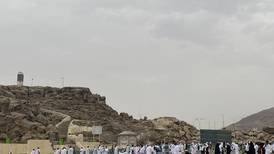 Cloudy weather and light rain in Makkah