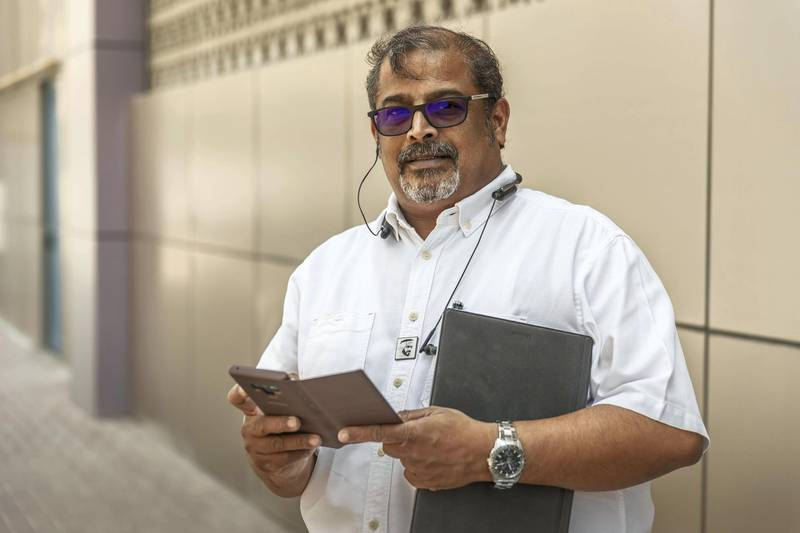 SHARJAH, UNITED ARAB EMIRATES. 15 MAY 2019. Mr Chandra Shankar, a Indian National living in the UAE. As the elections draw to a close on Sunday, Indians in the UAE are involved in the final push of campaigning. They send emails, make calls and post WhatsApp messages to friends, family and neighbours of Non-Resident Indians back home. (Photo: Antonie Robertson/The National) Journalist: Ramola Talwar. Section: National.