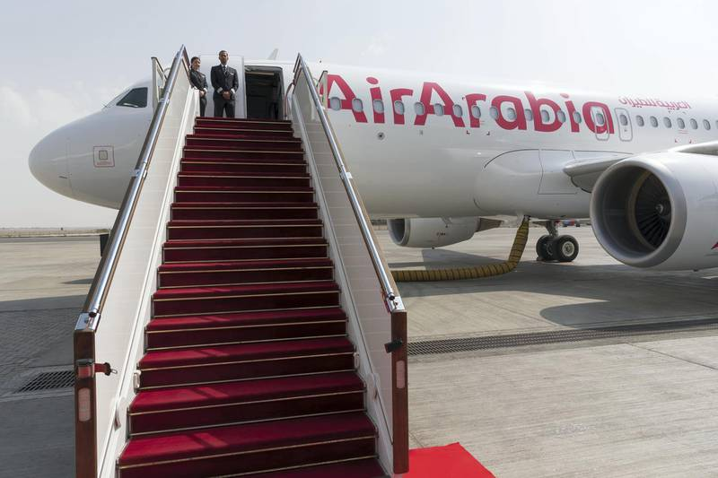 DUBAI, UNITED ARAB EMIRATES. 28 OCTOBER 2018. Air Arabia's 15th Anniversary Celebration at the Air Arabia hanger in the Sharjah Cargo Terminal. Launch of the newly outfitted Airbus. (Photo: Antonie Robertson/The National) Journalist: Sarah Townsend. Section: Business.