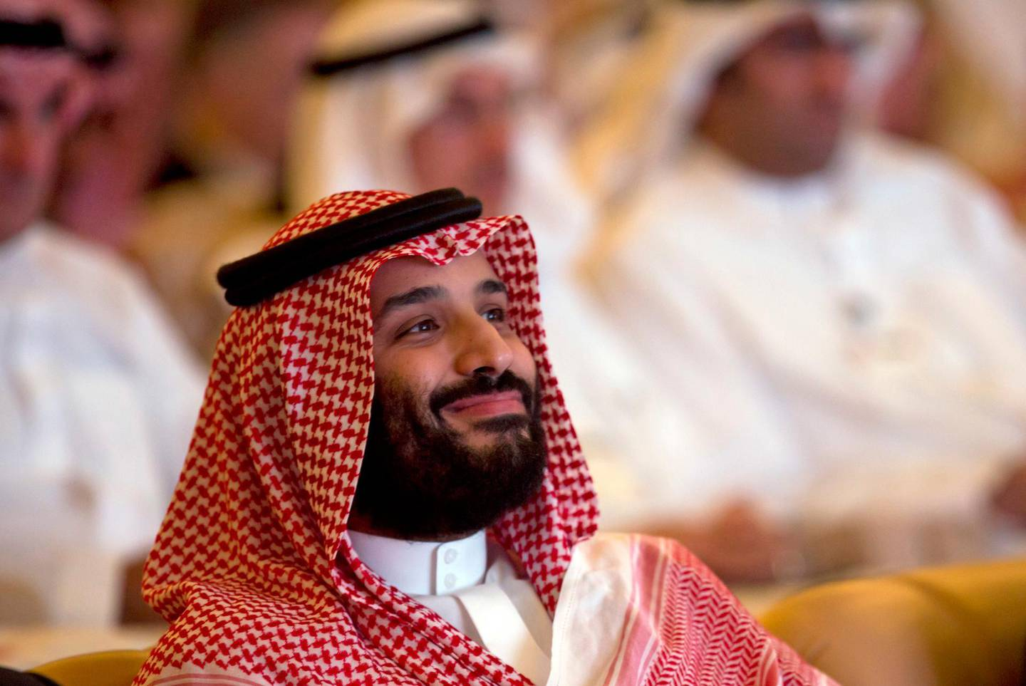 FILE - In this Oct. 23, 2018, file photo, Saudi Crown Prince Mohammed bin Salman smiles as he attends the Future Investment Initiative summit in Riyadh, Saudi Arabia. Lured by a long-looming stock offering of Saudi Arabia's massive state-run oil company, investors and business leaders have returned to the kingdom's capital for an investment forum overshadowed last year by the assassination of Washington Post columnist Jamal Khashoggi. (AP Photo/Amr Nabil, File)