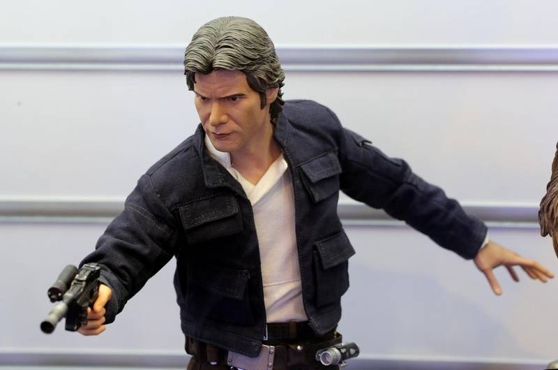 Dubai, United Arab Emirates - May 26, 2019: Photo Project. Han Solo from Star wars figurine. Comicave is the WorldÕs largest pop culture superstore involved in the retail and distribution of high-end collectibles, pop-culture merchandise, apparels, novelty items, and likes. Thursday the 30th of May 2019. Dubai Outlet Mall, Dubai. Chris Whiteoak / The National