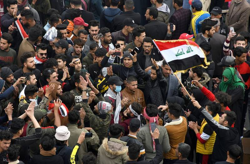 Anti-government demonstrators protest in the southern Iraqi city of Nasiriyah, on January 10, 2020.  / AFP / -