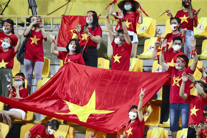 Vietnam fans before the game between the UAE and Vietnam in the World cup qualifiers at the Zabeel Stadium, Dubai on June 15th, 2021. Chris Whiteoak / The National.  Reporter: John McAuley for Sport