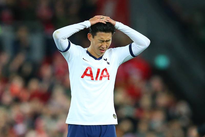 LIVERPOOL, ENGLAND - OCTOBER 27:  Heung-Min Son of Tottenham Hotspur reacts in defeat after the Premier League match between Liverpool FC and Tottenham Hotspur at Anfield on October 27, 2019 in Liverpool, United Kingdom. (Photo by Alex Livesey/Getty Images)