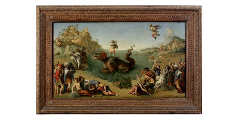 """The painting """"Perseus frees Andromeda"""" by Piero di Cosimo is seen at the Uffizi gallery, one of the artworks featured in its """"Black Presence"""" project that explores Black culture in in Renaissance art by bringing together artworks from their collection with leading Black figures and will be discussed on social media on July 4, in this undated handout photo in Florence, Italy. Obtained by Reuters on July 2, 2020. Gallerie degli Uffizi/Handout via REUTERS ATTENTION EDITORS THIS IMAGE HAS BEEN SUPPLIED BY A THIRD PARTY. MANDATORY CREDIT."""