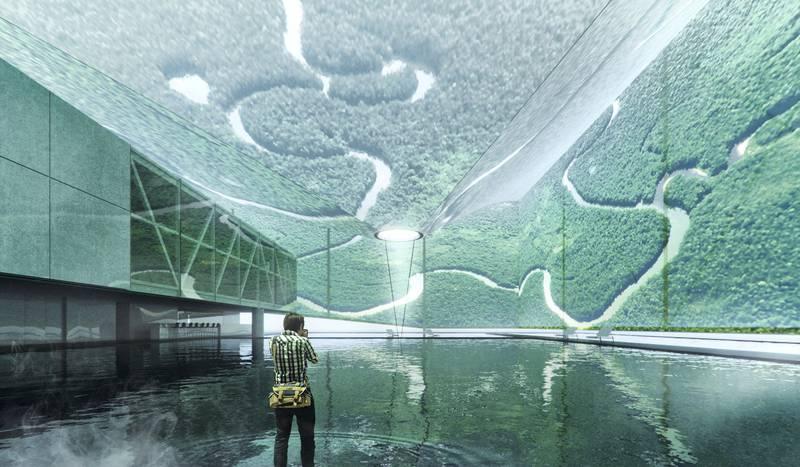 Renderings of the Brazilian pavilion at Expo 2020 in Dubai.