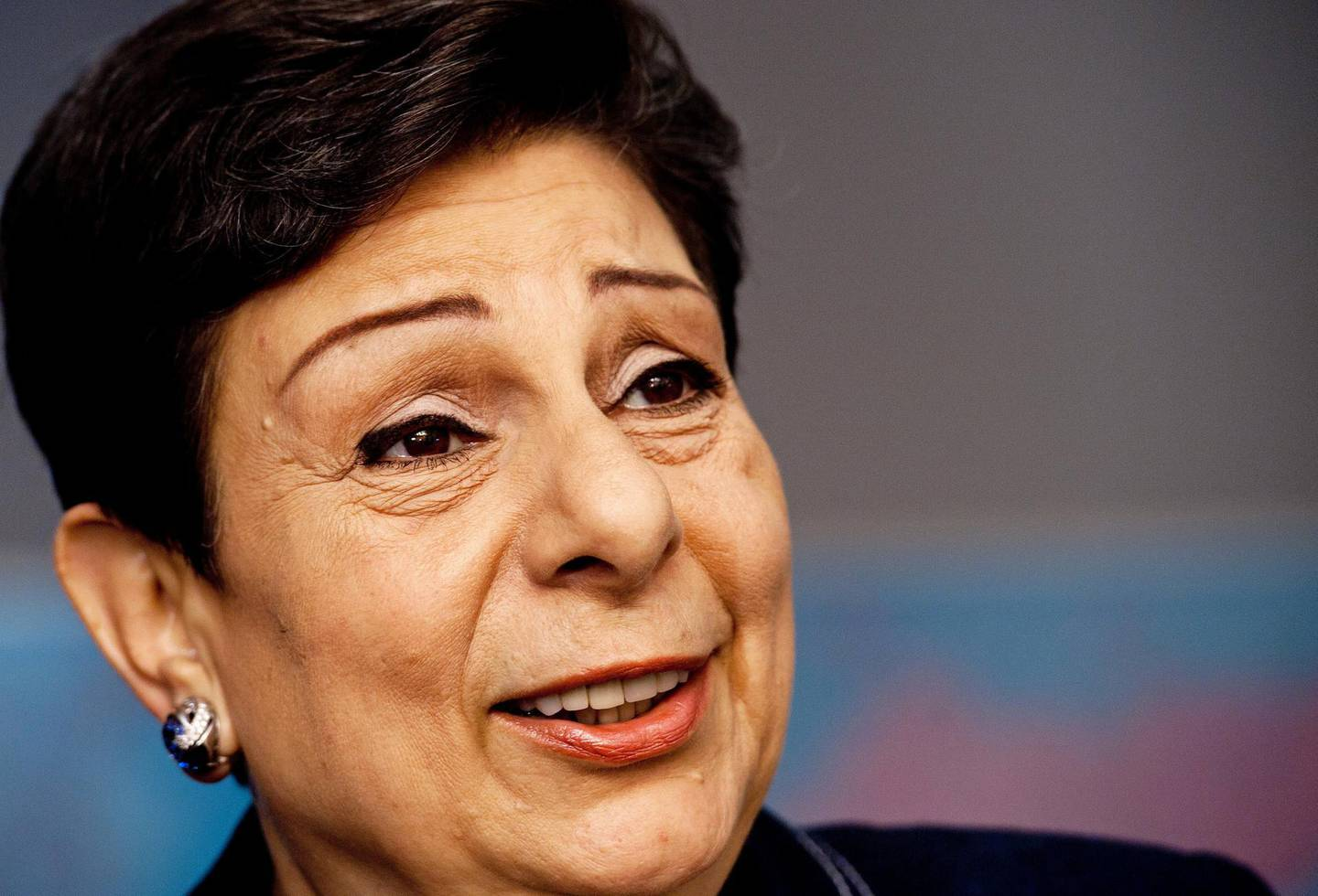 Senior Palestinian official Dr. Hanan Ashrawi, member of the Executive Committee of the PLO and electe Palestinian Legislative Council, is interviewed August 2, 2011 in washington, DC. Ashrawi said she tried in vain to persuade the Obama administration not to veto a Palestinian bid next month for United Nations membership for a state on the lines that existed before the 1967 war.    AFP Photo/Paul J. Richards (Photo by PAUL J. RICHARDS / AFP)