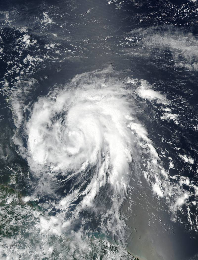 epa06211435 A handout photo made available by the National Aeronautics and Space Administration (NASA) on 18 September 2017 shows an image acquired by the Moderate Resolution Imaging Spectroradiometer (MODIS) on NASA's Suomi-NPP satellite of Hurricane Maria as it approaches the Leeward Islands in the Atlantic Ocean on 17 September 2017. Hurricane Maria is gaining strength and could directly hit Puerto Rico in the coming days. Several islands in the Caribbean, including Puerto Rico, are recovering from catestrophic damage caused by Hurricane Irma.  EPA/NASA / LANCE Rapid Response MODIS / HANDOUT  HANDOUT EDITORIAL USE ONLY/NO SALES