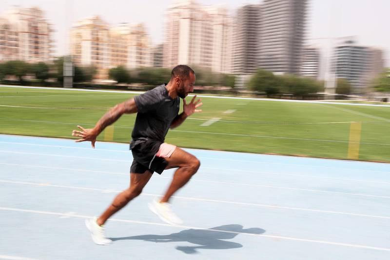DUBAI, UNITED ARAB EMIRATES , March 10, 2021 – James Ellington , Dubai-based British sprinter doing training for the Summer Olympics at the Dubai Sports City athletics track in Dubai. (Pawan Singh / The National) For Sports/Online. Story by John