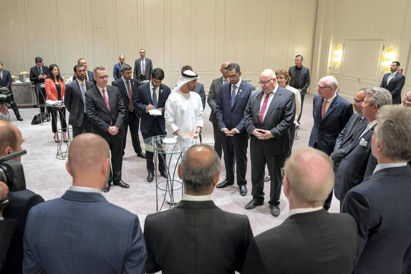 BERLIN, GERMANY - June 12, 2019: HH Sheikh Mohamed bin Zayed Al Nahyan, Crown Prince of Abu Dhabi and Deputy Supreme Commander of the UAE Armed Forces (C), meets with representatives of German companies from various sectors, in Berlin. Seen with HE Mohamed Mubarak Al Mazrouei, Undersecretary of the Crown Prince Court of Abu Dhabi, HH Sheikh Abdullah bin Zayed Al Nahyan, UAE Minister of Foreign Affairs and International Cooperation, HE Dr Sultan Ahmed Al Jaber, UAE Minister of State, Chairman of Masdar and CEO of ADNOC Group and HE Peter Altmaier, Minister for Economic Affairs and Energy of Germany.  ( Mohamed Al Hammadi / Ministry of Presidential Affairs ) ---