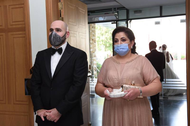 Groom Elie Abi Daher with his mother Norma Estephan. Eli married to Laura Daher in a small service at St Therese Church in Abu Dhabi on August 17 following safety rules amid the coronavirus pandemic. Courtesy: Laura Daher and Elie Abi Daher