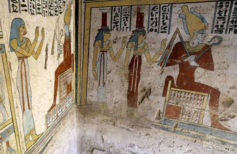Preserved wall paintings inside the newly discovered burial site, Tomb of Tutu, at al-Dayabat, Sohag, Egypt April 5, 2019. REUTERS/Mohamed Abd El Ghany