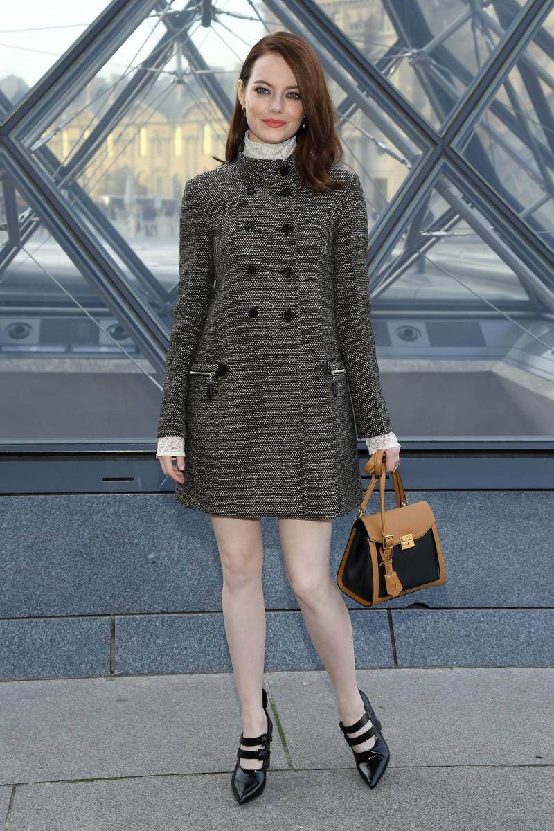 PARIS, FRANCE - MARCH 05: Emma Stone attends the Louis Vuitton show as part of the Paris Fashion Week Womenswear Fall/Winter 2019/2020  on March 05, 2019 in Paris, France. (Photo by Pascal Le Segretain/Getty Images)