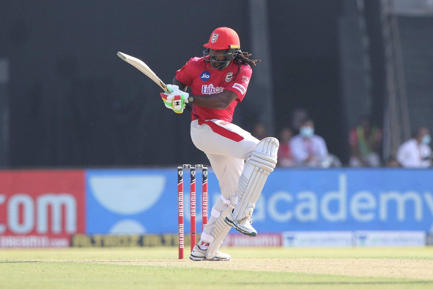 Chris Gayle of Kings XI Punjab plays a shot during match 53 of season 13 of the Dream 11 Indian Premier League (IPL) between the Chennai Super Kings and the Kings XI Punjab at the Sheikh Zayed Stadium, Abu Dhabi  in the United Arab Emirates on the 1st November 2020.  Photo by: Pankaj Nangia  / Sportzpics for BCCI