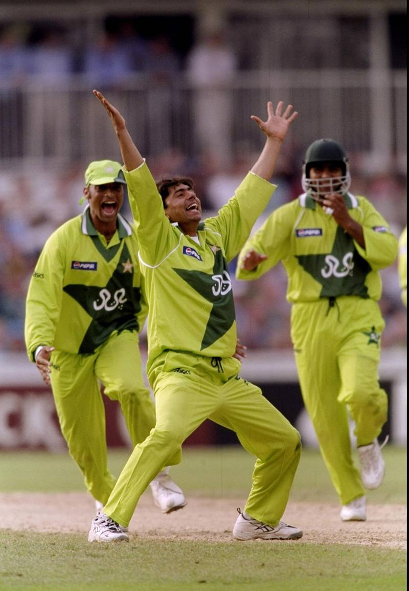 11 Jun 1999:  Saqlain Mushtaq of Pakistan takes only the 2nd hat-trick in World Cup history during the Super Six match against Zimbabwe at the Oval in London. Pakistan won by 148 runs.  \ Mandatory Credit: Ben Radford /Allsport/Getty Images