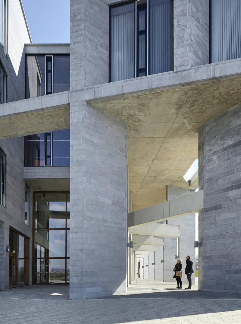 This image released by the Pritzker Prize shows the exterior of the Graduate Entry Medical School at the University of Limerick in Limerick, Ireland. The building was designed by Yvonne Farrell and Shelley McNamara, recipients of the 2020 Pritzker Architecture Prize. (DennisGilbert/Pritzker Prize via AP)