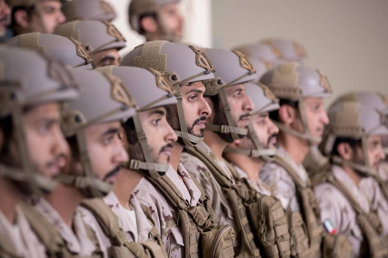 MAHAWI, ABU DHABI, UNITED ARAB EMIRATES - March 06, 2017: HH Sheikh Zayed bin Hamdan bin Zayed Al Nahyan (C) and other Presidential Guard personnel attend the inauguration of the the Joint Fires Wing of the Presidential Guard Training Institute, at Mahawi Military Camp.  ( Ryan Carter / Crown Prince Court - Abu Dhabi ) *** Local Caption ***  20170306RC_C178631.JPG