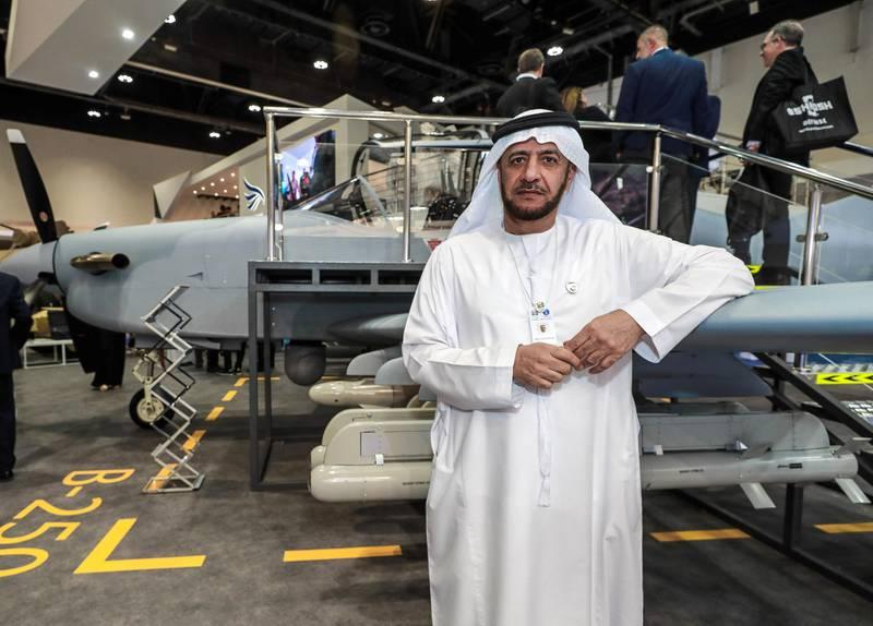 Abu Dhabi, United Arab Emirates, 2/19/19, International Defence Exhibition & Conference 2019 (IDEX) day 3. -- Abdulla Alsayed Alhashmi, Sr. VP Business Development, CALIDUS with the B-250 bomber.Victor Besa / The National.Section:  NAReporter:  Dania Al Saadi