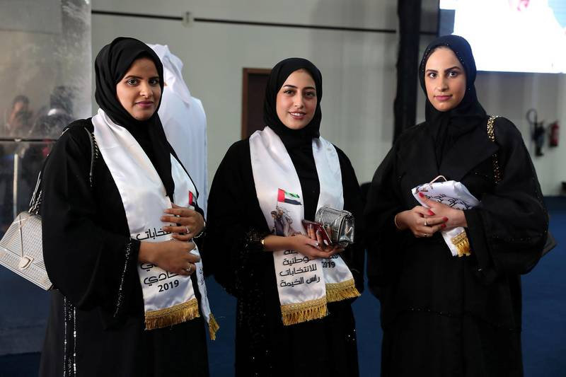 RAK,  UNITED ARAB EMIRATES , OCTOBER 5 – 2019 :- Left to Right - Jawaher Kardali , Asma Al Baloushi and Muna Kardali after casting their vote for the FNC elections held at the RAK Exhibition Center in Ras Al Khaimah. ( Pawan Singh / The National ) For News. Story by Ruba