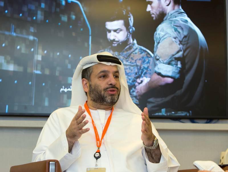 Dubai, United Arab Emirates- Interview with Edge CEO Faisal Al Bannai at the Dubai Airshow 2019 day 2 at Maktoum Airport.  Leslie Pableo for the National