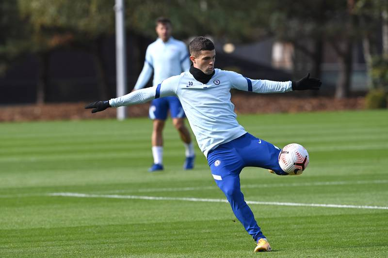 COBHAM, ENGLAND - OCTOBER 16:  Christian Pulisic of Chelsea during a training session at Chelsea Training Ground on October 16, 2020 in Cobham, England. (Photo by Darren Walsh/Chelsea FC via Getty Images)