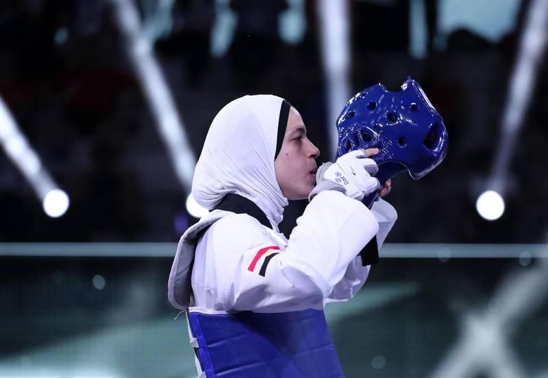 Hedaya Malak (EGY) wears his helmet during the World Taekwondo Grand Prix women -67kg semifinal at Foro Italico of Rome, Italy on June 7, 2019 (Photo by Matteo Ciambelli/NurPhoto via Getty Images)