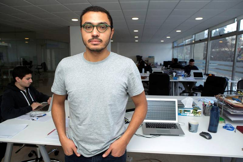 Ahmed Moor, chief executive officer of Liwwa, a financial services start- up is photographed at his office on January 15, 2018 in Amman, Jordan. ( Salah Malkawi for The National)