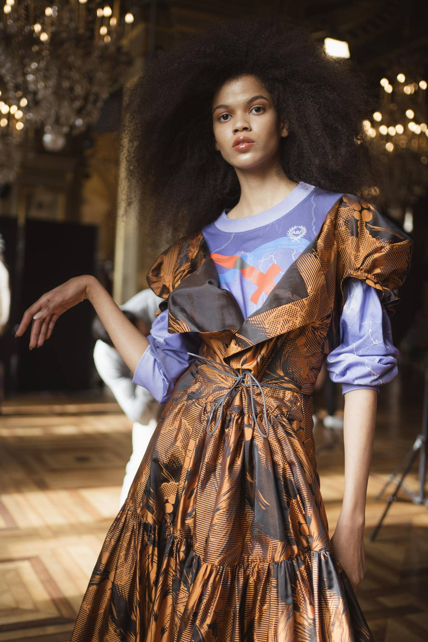 PARIS, FRANCE - FEBRUARY 29: (EDITORIAL USE ONLY.  EDITORS NOTE: Image has been digitally enhanced) A model poses backstage before the Vivienne Westwood Womenswear Fall/Winter 2020/2021 show as part of Paris Fashion Week on February 29, 2020 in Paris, France. (Photo by Francois Durand/Getty Images)