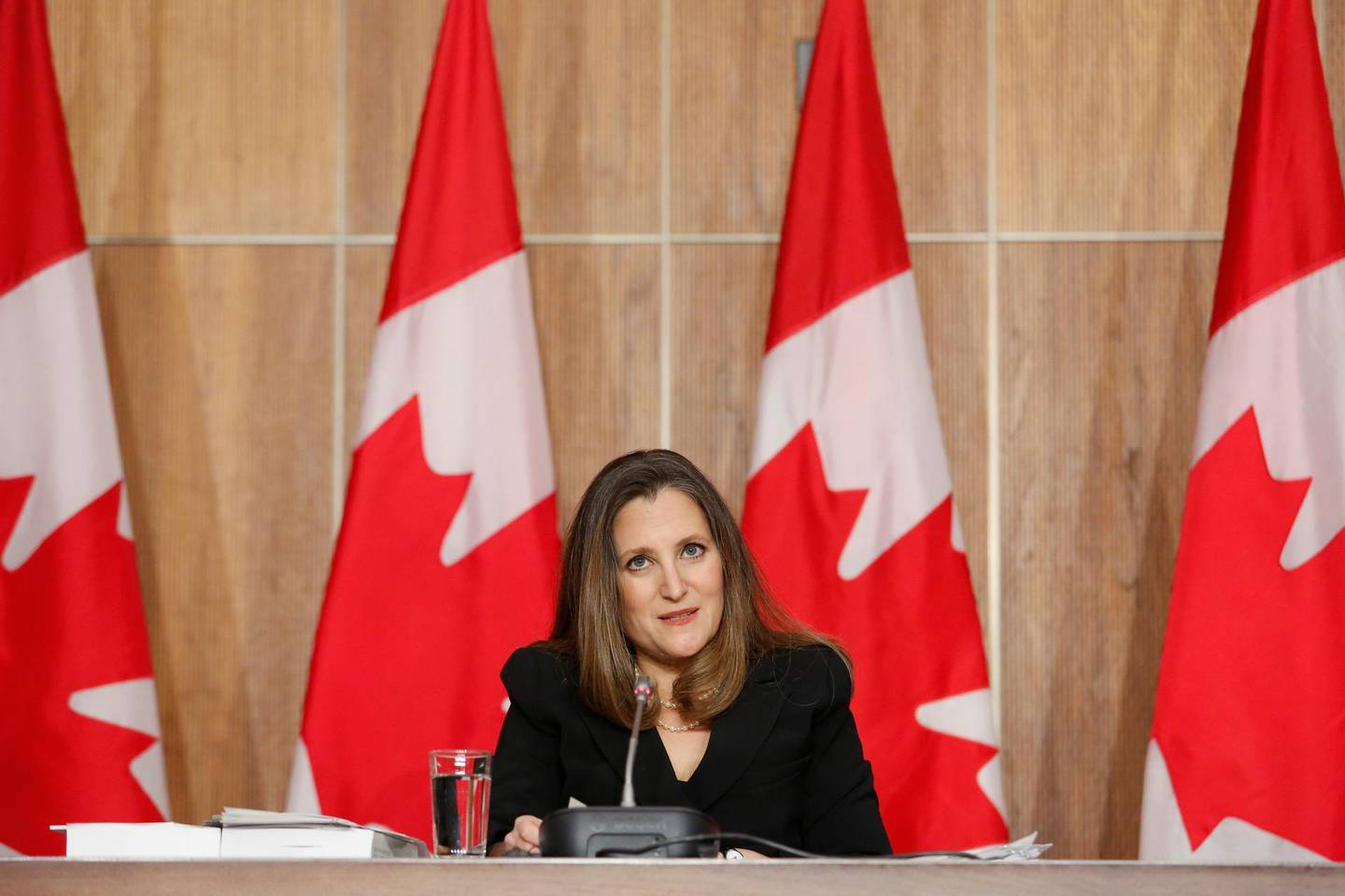 Canada's Finance Minister Chrystia Freeland speaks during a press conference on Parliament Hill in Ottawa, Ontario, Canada, April 19, 2021. REUTERS/Patrick Doyle