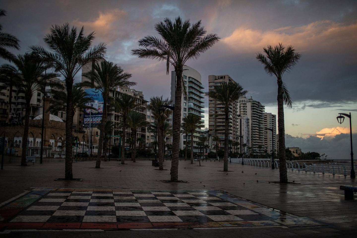 BEIRUT, LEBANON - JANUARY 14: A general view of an empty Corniche during the first day of the 24 hours lockdown on January 14, 2021, in Beirut, Lebanon. The country is introducing an 11-day, 24-hour curfew that confines people to their homes with limited exceptions. Residents will even be banned from going to the grocery store. (Photo by Diego Ibarra Sanchez/Getty Images)