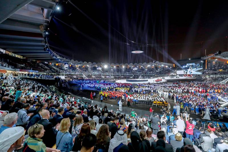 Abu Dhabi, March 14, 2019.  Special Olympics World Games Abu Dhabi 2019 opening ceremony.  Victor Besa/The National