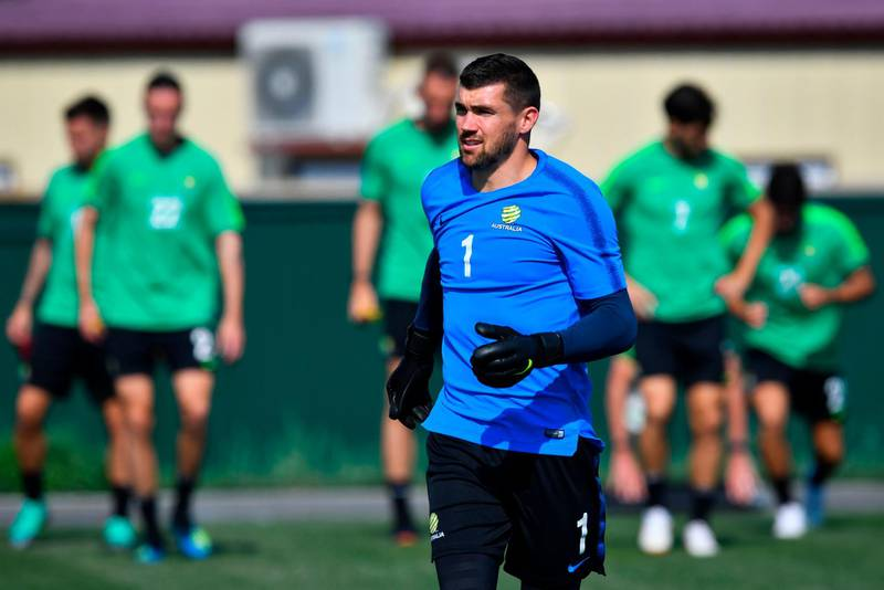 Australia's goalkeeper Mathew Ryan and team mates from Autralia's national football team attend a training session at the Park Arena in Sochi on June 25, 2018, on the eve of the Russia 2018 FIFA World Cup Group C football match between Australia and Peru. / AFP / Nelson Almeida