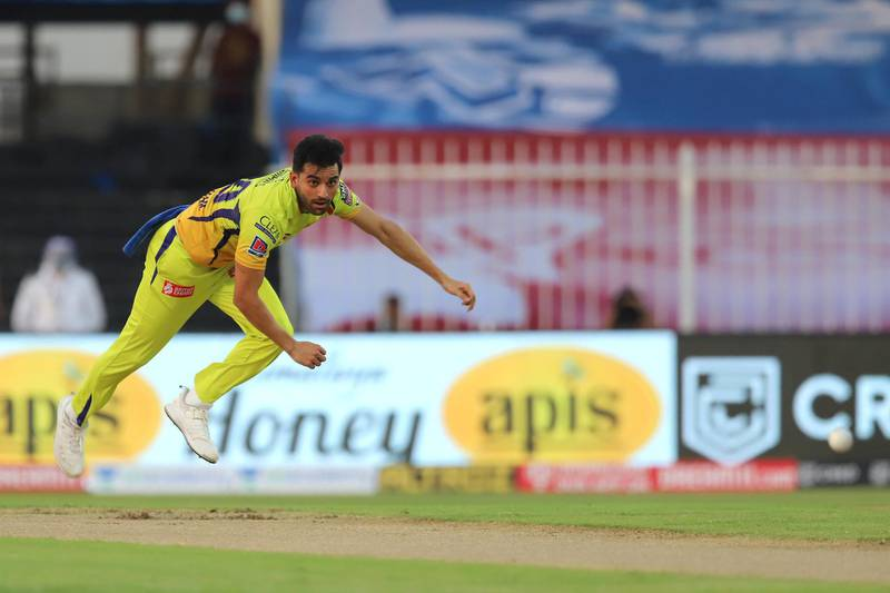 Deepak Chahar of Chennai Superkings bowls during match 4 of season 13 of the Dream 11 Indian Premier League (IPL) between Rajasthan Royals and Chennai Super Kings held at the Sharjah Cricket Stadium, Sharjah in the United Arab Emirates on the 22nd September 2020. Photo by: Deepak Malik  / Sportzpics for BCCI