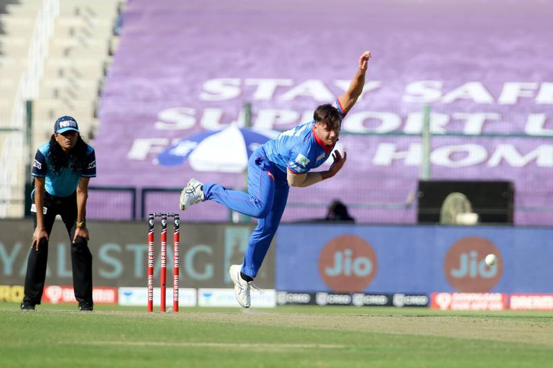 Marcus Stoinis of Delhi Capitals bowls during match 42 of season 13 of the Dream 11 Indian Premier League (IPL) between the Kolkata Knight Riders and the Delhi Capitals at the Sheikh Zayed Stadium, Abu Dhabi  in the United Arab Emirates on the 24th October 2020.  Photo by: Vipin Pawar  / Sportzpics for BCCI