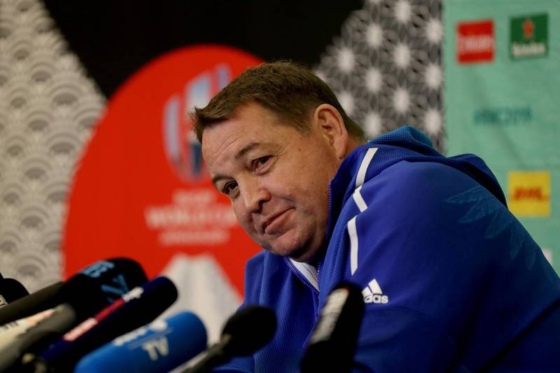 TOKYO, JAPAN - OCTOBER 14: Head coach Steve Hansen of the All Blacks speaks to the media during a press conference on October 14, 2019 in Tokyo,  Japan. (Photo by Hannah Peters/Getty Images)