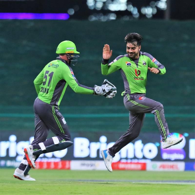 Rashid Khan took five for 20 as Lahore Qalandars beat Peshawar Zalmi by 10 runs at the Zayed Cricket Stadium. Courtesy PCB