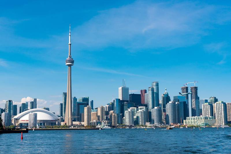 TORONTO, ONTARIO, CANADA - 2016/08/19: CN tower in Toronto skyline seen from Lake Ontario. The city offers boat tours which are very popular with tourists and visitors to the Financial Capital of Canada. (Photo by Roberto Machado Noa/LightRocket via Getty Images)