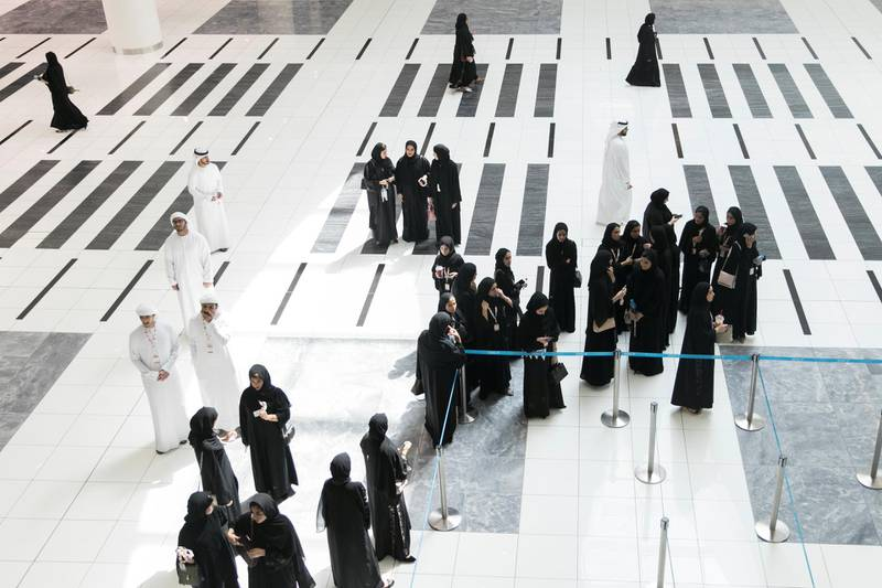 ABU DHABI, UNITED ARAB EMIRATES - OCTOBER 08, 2018. Students arrive at Mohammed Bin Zayed Council for Future Generations sessions, held at ADNEC.(Photo by Reem Mohammed/The National)Reporter: SHIREENA AL NUWAIS + ANAM RIZVISection:  NA